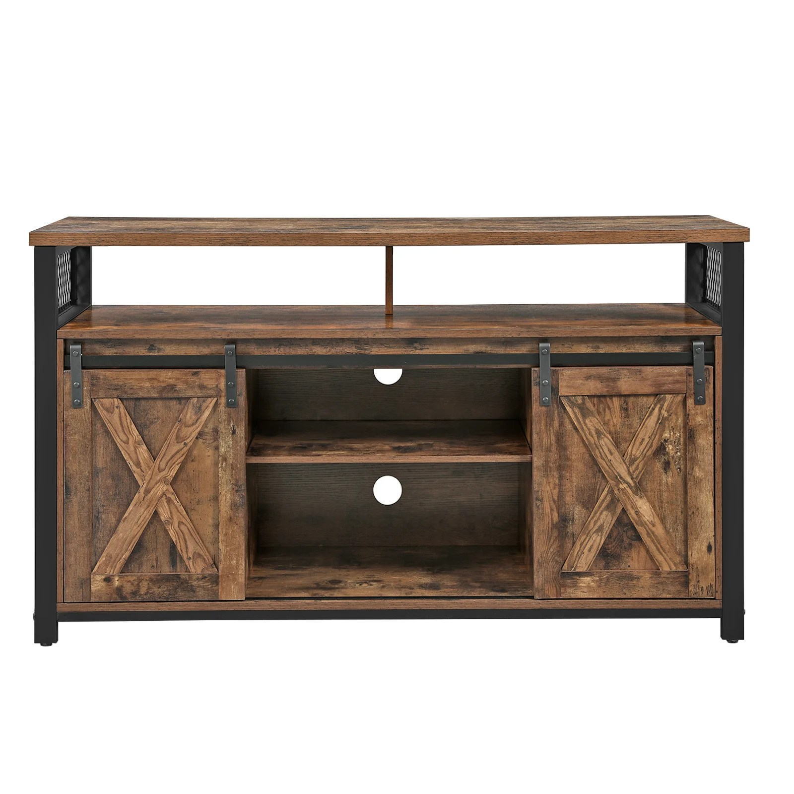vasagle tv stand with sliding barn doors media centre and console tv cabinet with adjustable shelves for tvs up to 75 inches industrial design