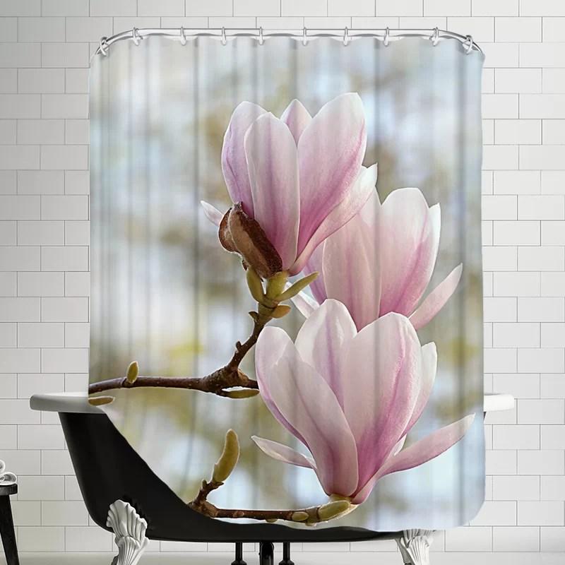 magnolia flower bloom single shower curtain