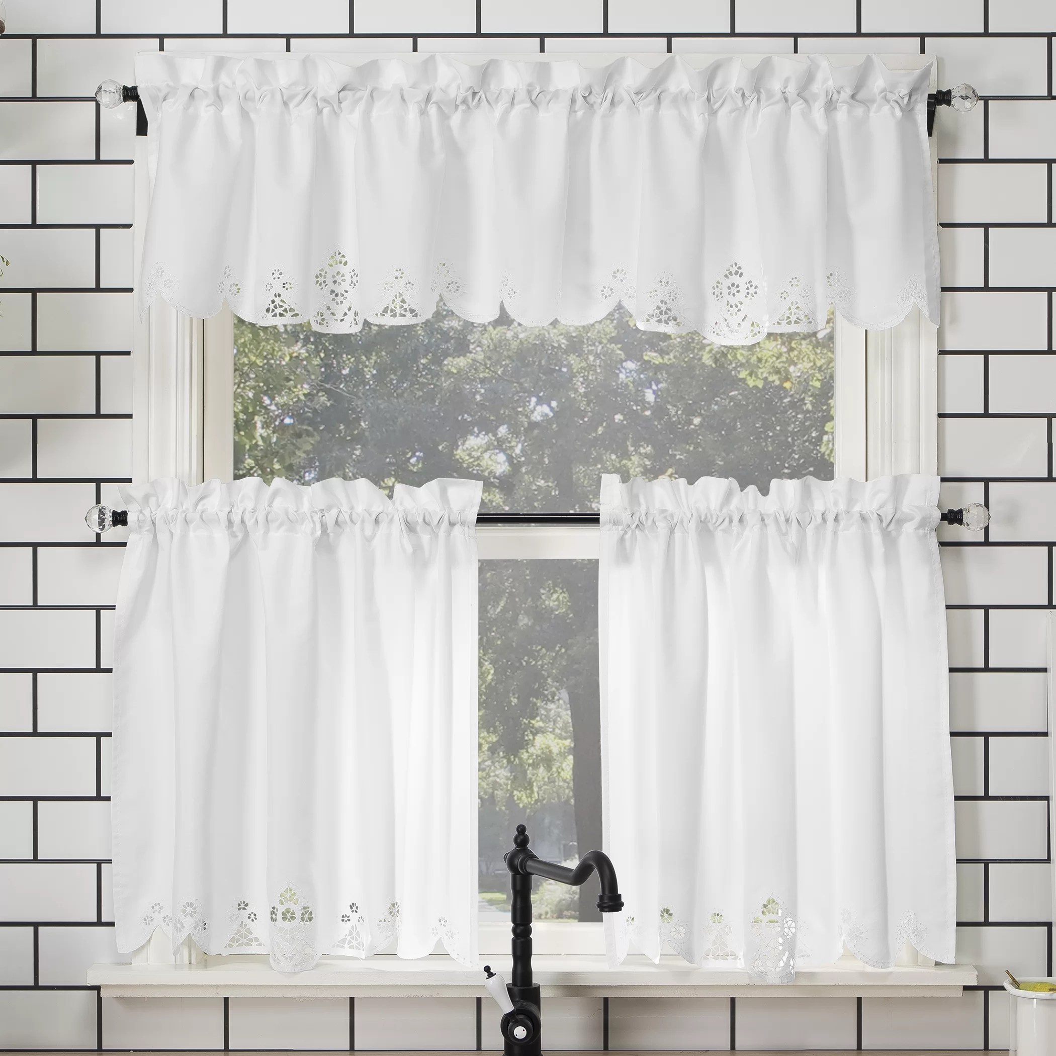mariela floral trim semi sheer rod pocket kitchen curtain