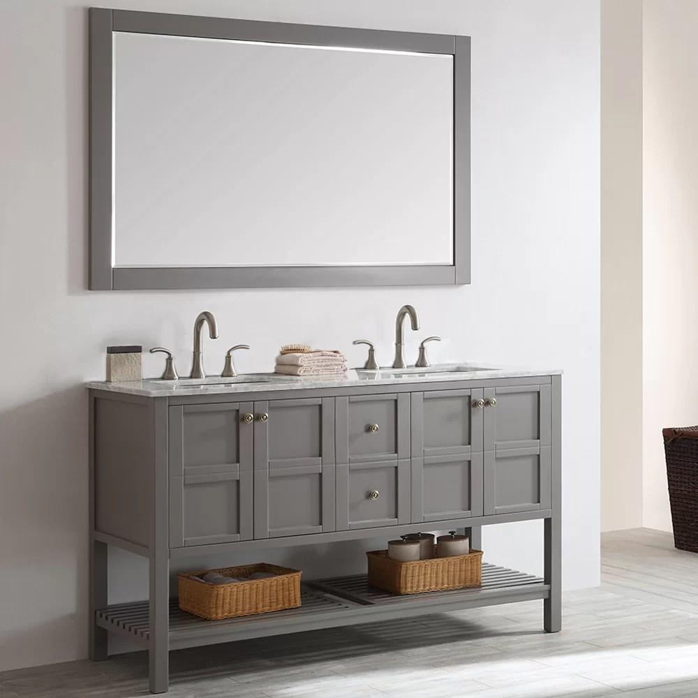 beachcrest home caldwell 60 double bathroom vanity set with mirror reviews wayfair