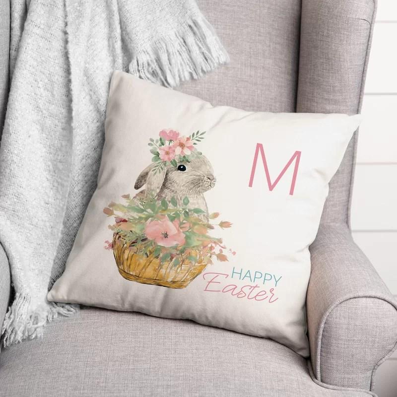 latta happy easter bunny basket throw pillow
