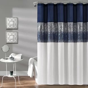 gray silver navy shower curtains
