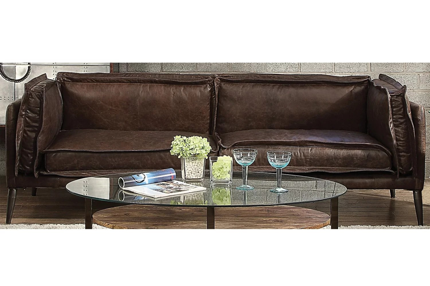 17 Stories Eilidh Leather Sofa Wayfair