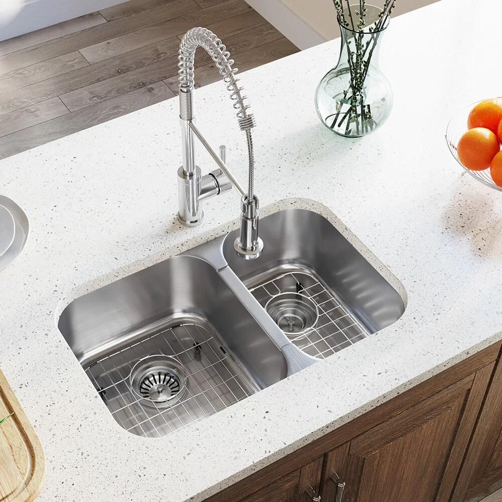 28 l x 18 w double basin undermount kitchen sink