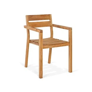 cambridge stacking teak patio dining armchair set of 2