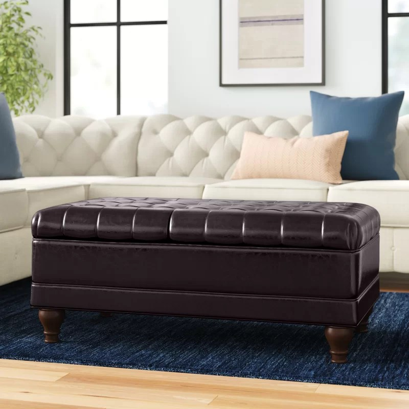 hobgood 43 wide faux leather tufted rectangle cocktail ottoman with storage