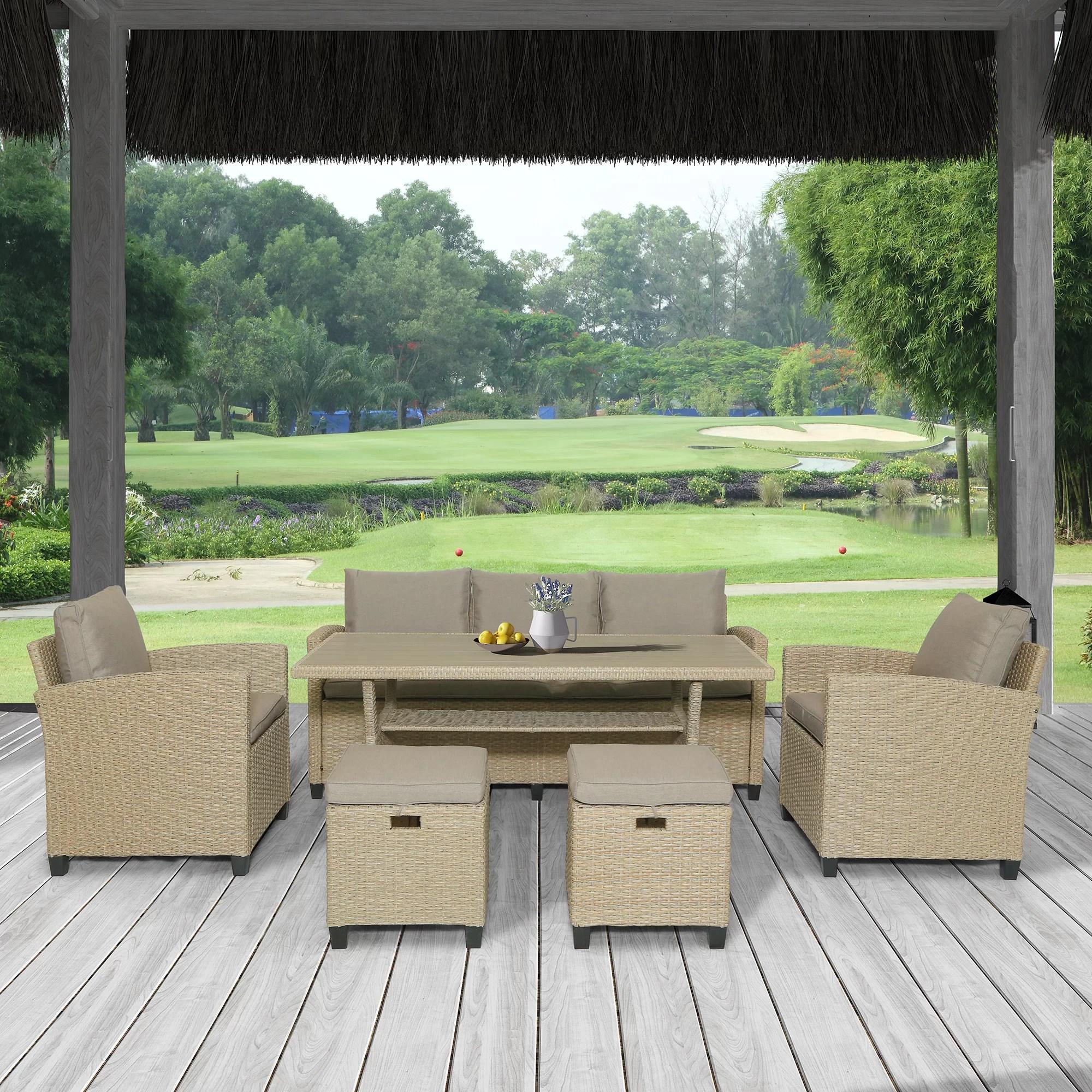 red barrel studio 6 piece outdoor rattan wicker set patio garden backyard sofa chair stools and table wayfair