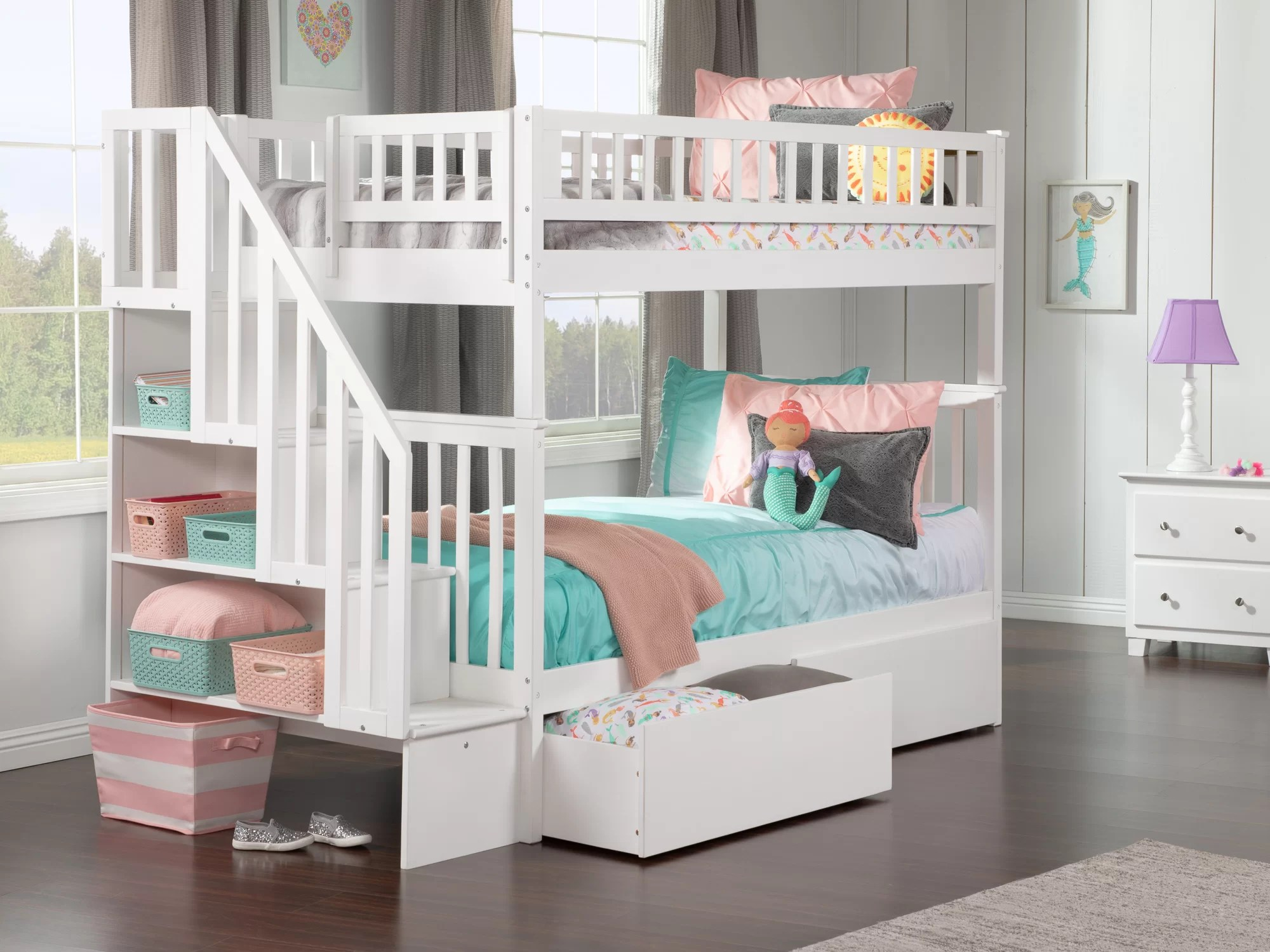 Viv Rae Shyann Staircase Twin Over Twin Bunk Bed With 2 Drawers Reviews