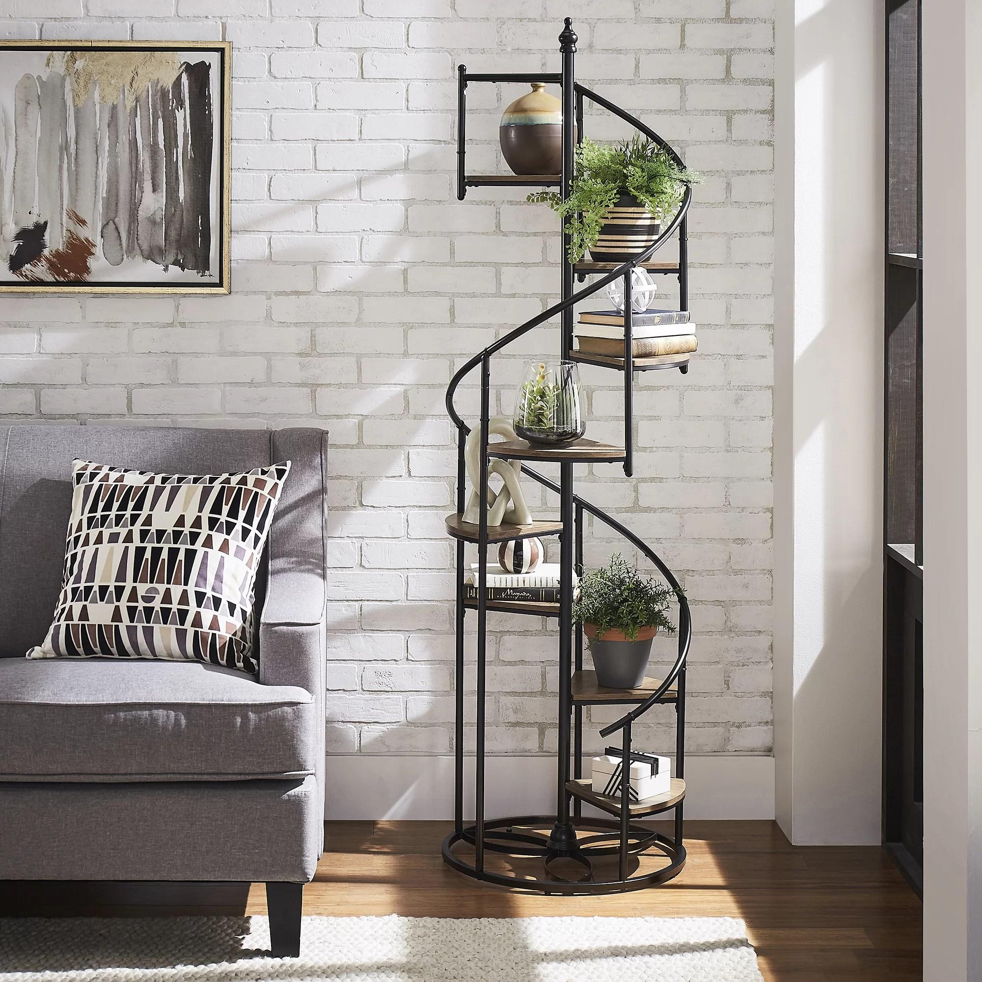 Red Barrel Studio Saear 69 H X 20 W Metal Spiral Staircase Display Shelf Reviews Wayfair