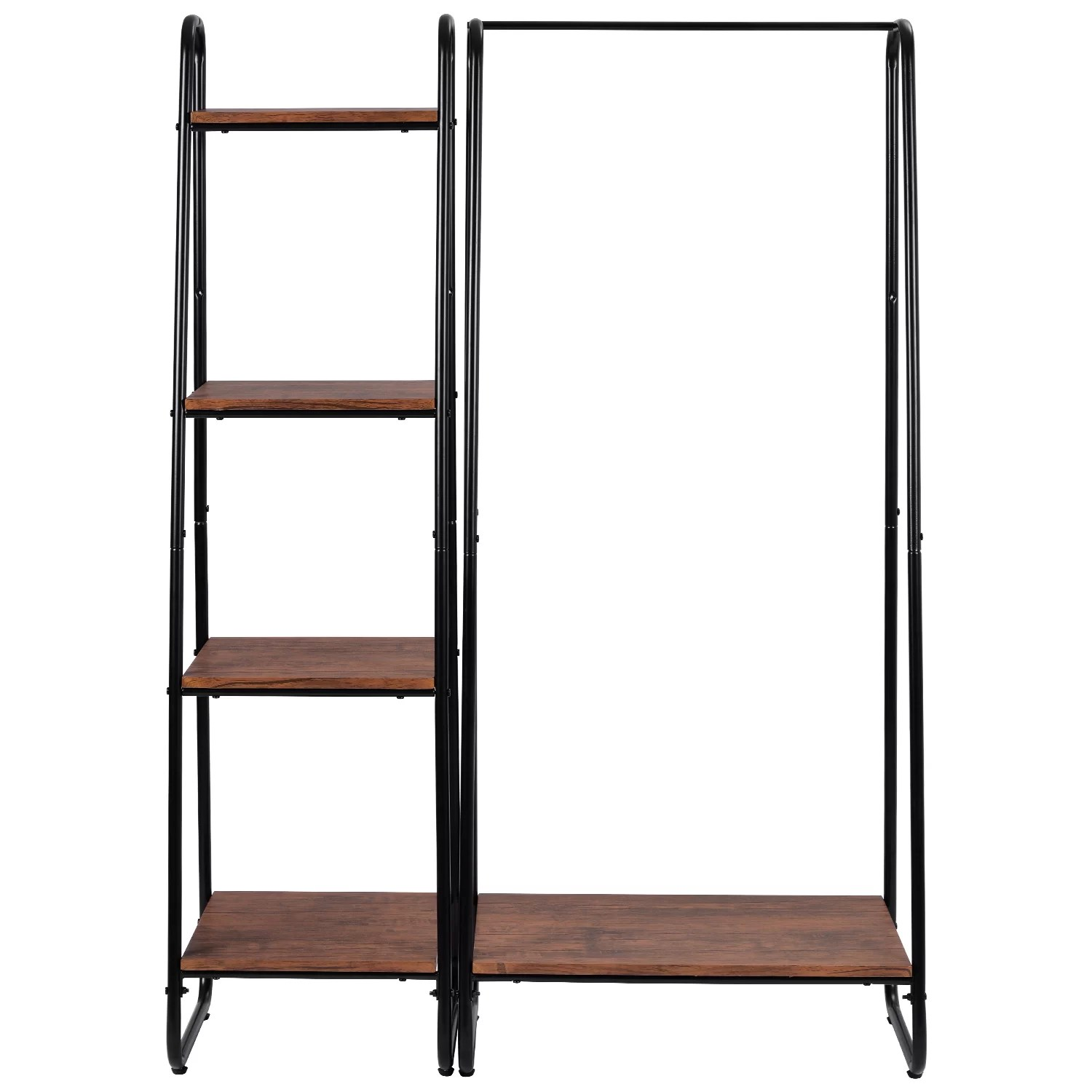 guenther heavy duty clothes rail metal coat stands with shoe rack storage cabinet wardrobe 4 tiers ladder bookshelf shelving unit vintage wood