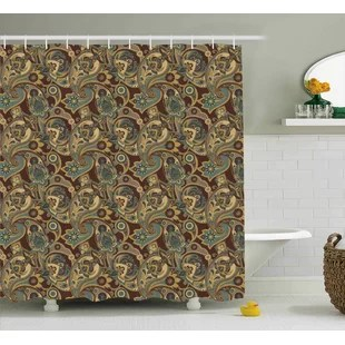 brown paisley shower curtains shower