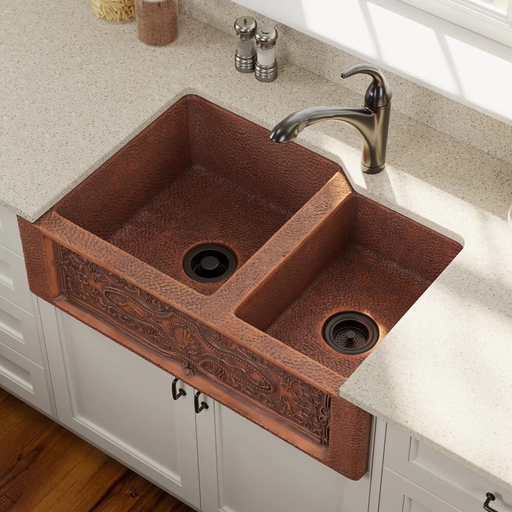 copper 33 l x 22 w double basin farmhouse apron kitchen sink with additional accessories