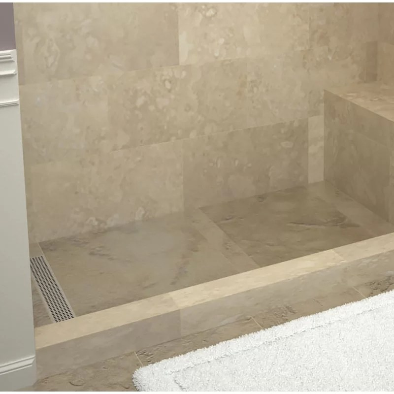60 x 42 single threshold shower base with bench and drain grate