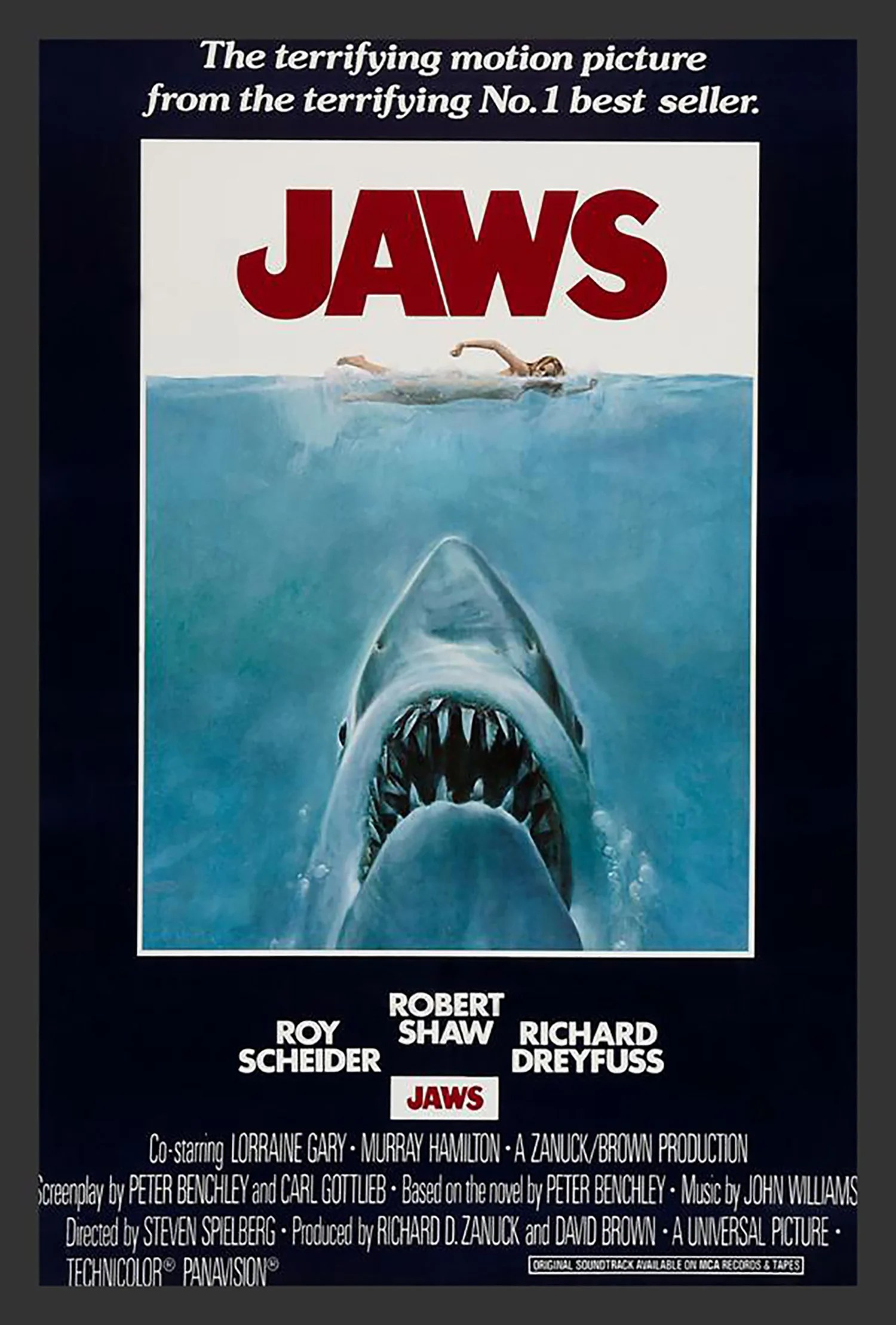 jaws movie poster framed vintage advertisement