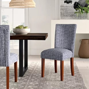 kelsi upholstered parsons chair in blue set of 2