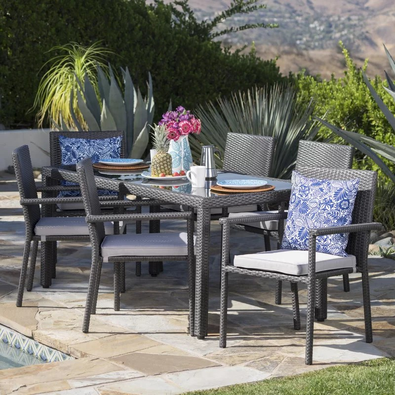 rectangular 6 person 64 2 long dining set with cushions