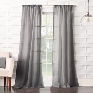 brooker solid sheer rod pocket single curtain panel