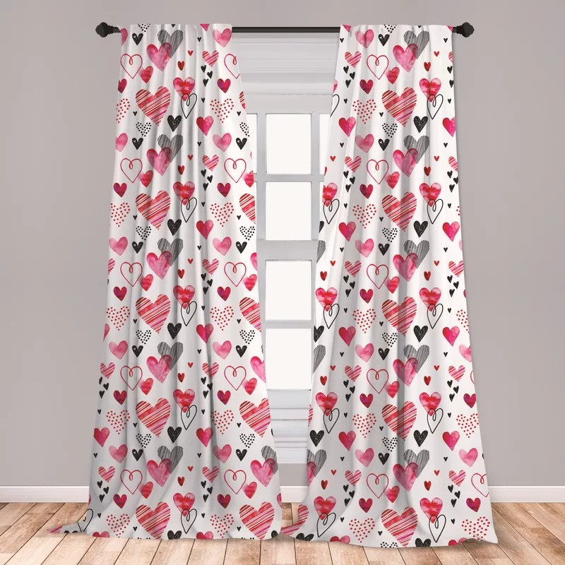 ambesonne valentines curtains doodle style hearts with different designs romantic inspirations for art window treatments 2 panel set for living room