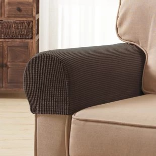 textured grid stretch box cushion armchair slipcover set of 2