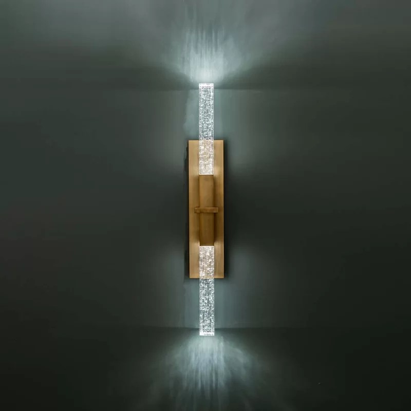 cinema aged brass 2 bulb integrated led seeded glass outdoor sconce
