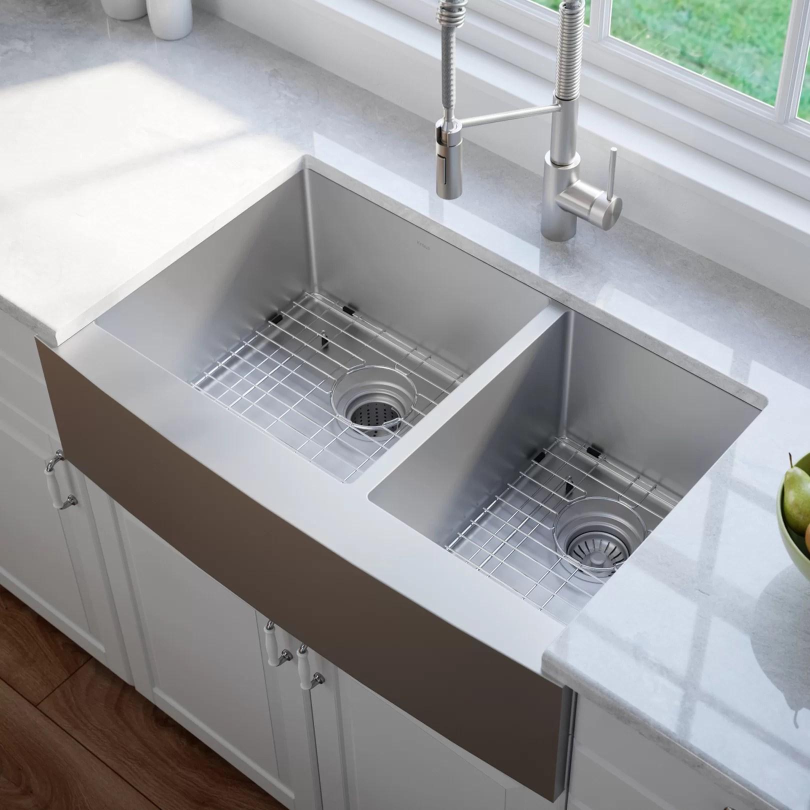33 l x 21 w double basin farmhouse kitchen sink with basket strainer