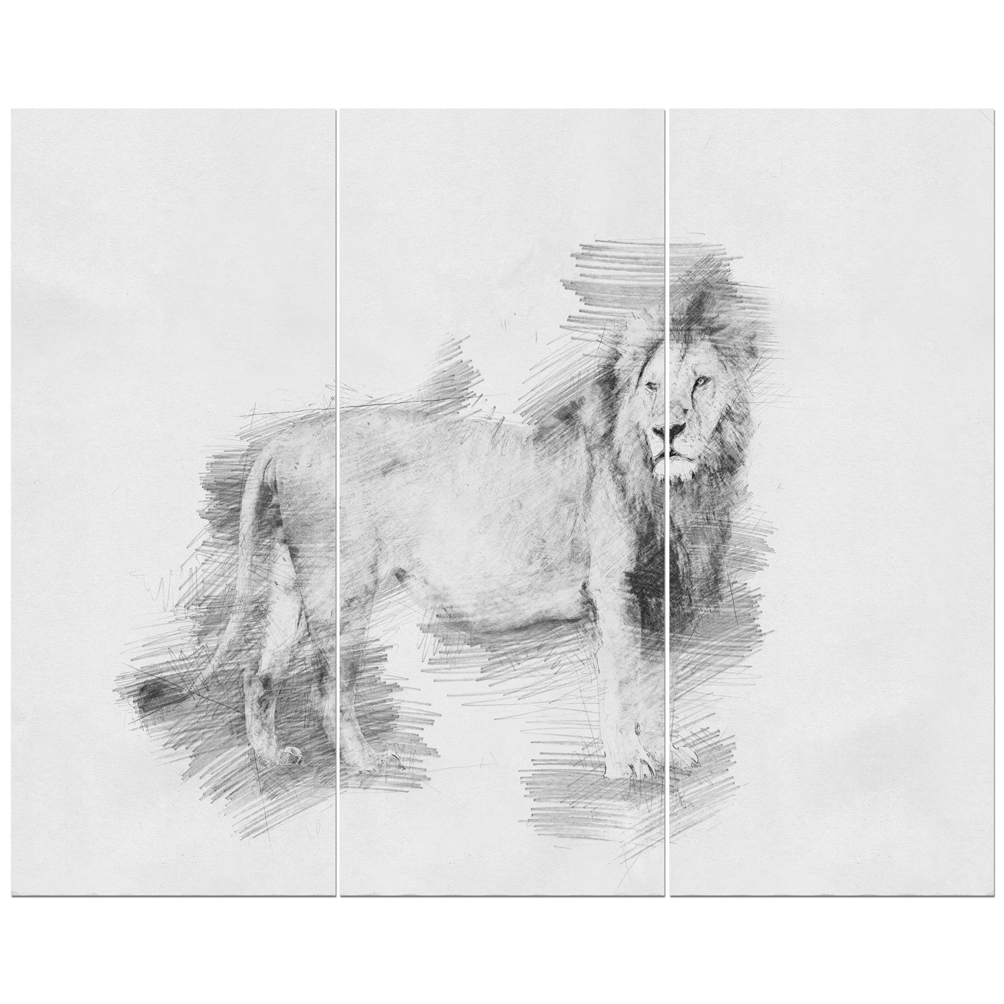 East Urban Home Black And White Lion Pencil Sketch Oil Painting Print Multi Piece Image On Wrapped Canvas Wayfair Ca