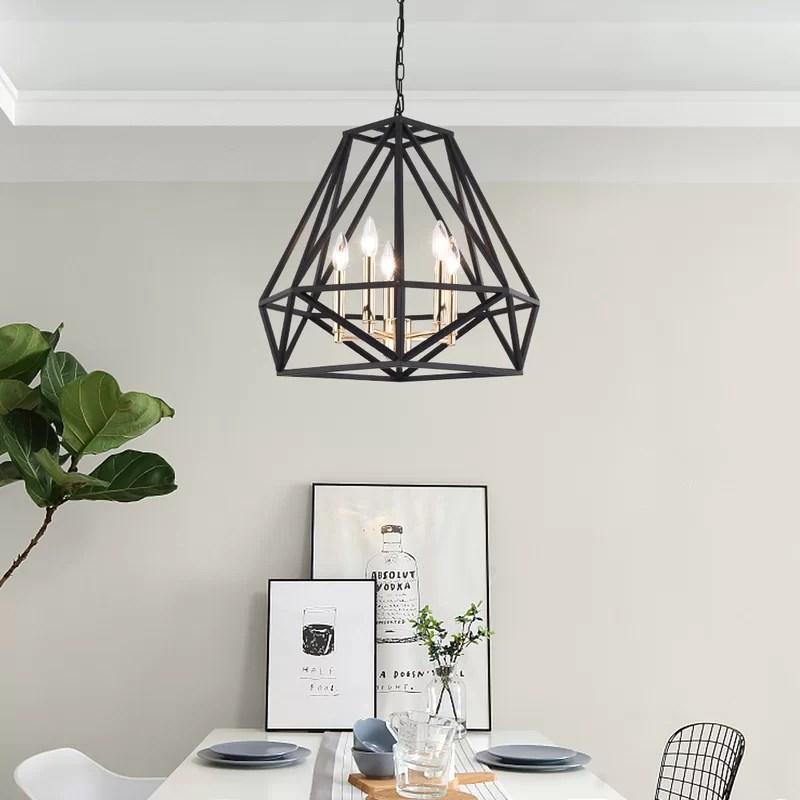 destin 5 light unique geometric chandelier