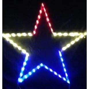 led lit star outling string light