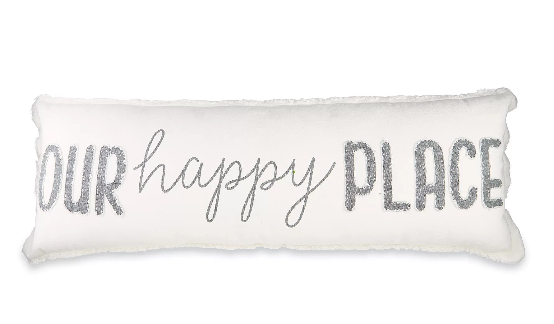 our happy place cotton lumbar pillow
