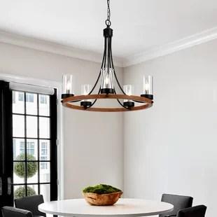 gusman 5 light candle style wagon wheel chandelier