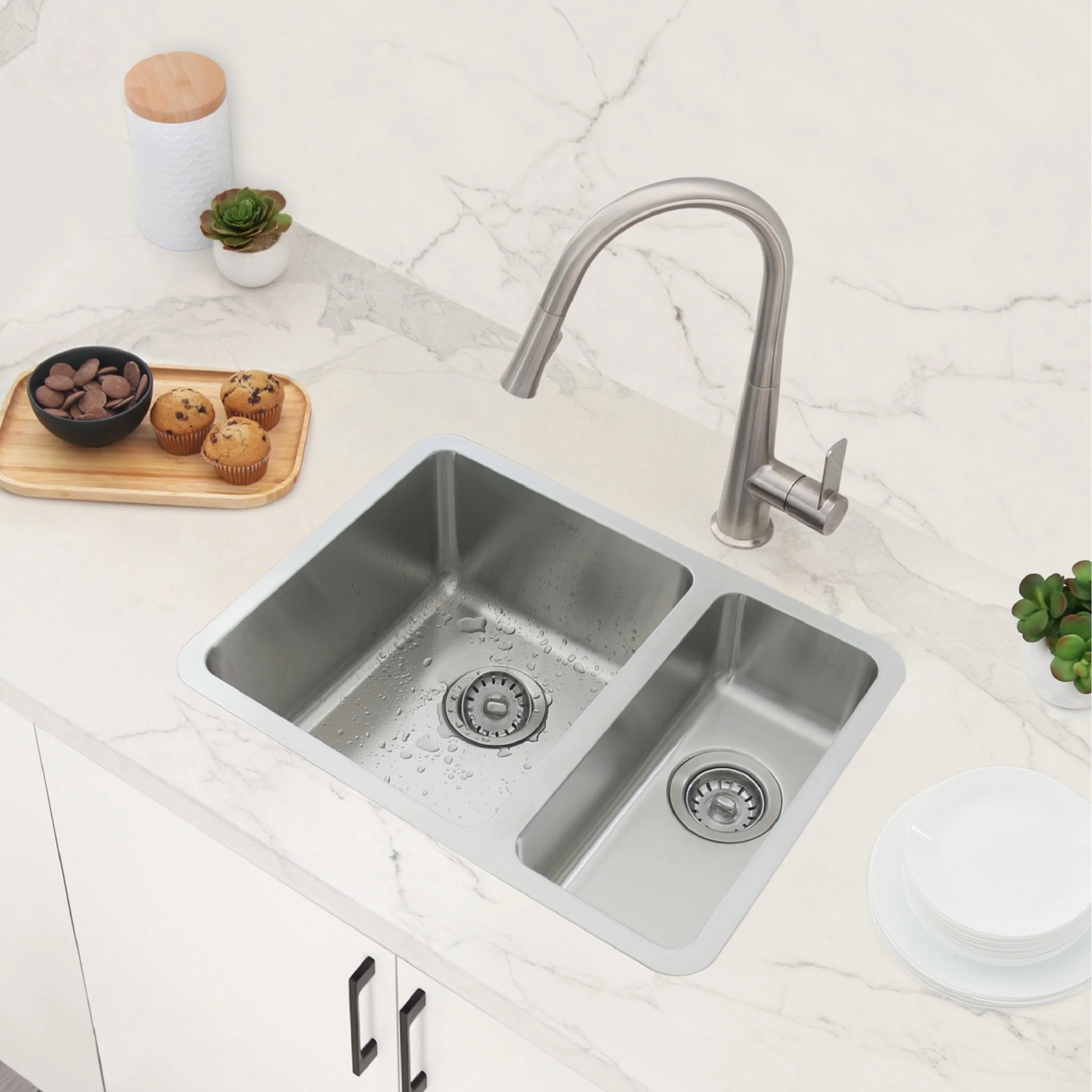 24 l x 18 w dual mount double basin kitchen sink with strainers