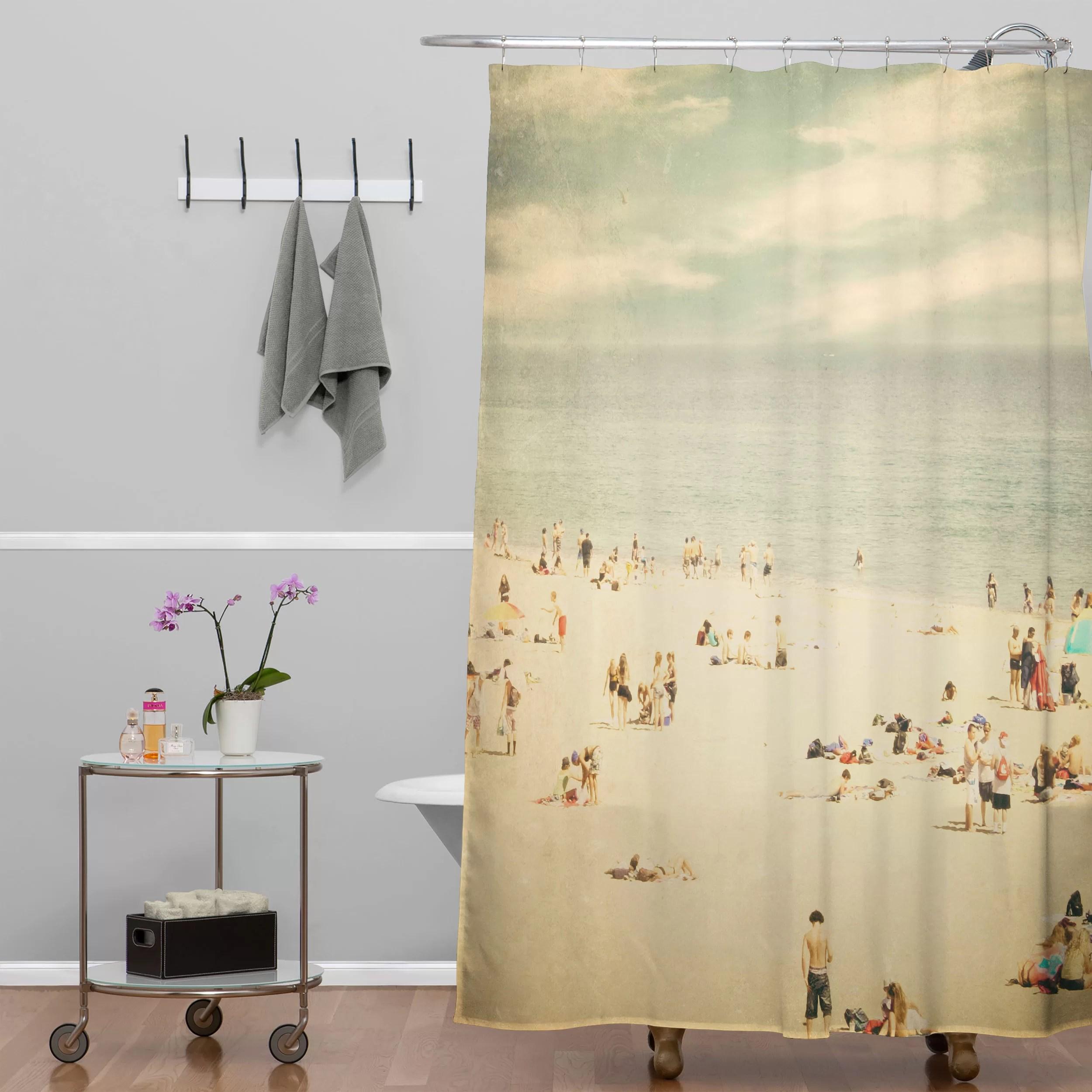 vintage beach single shower curtain