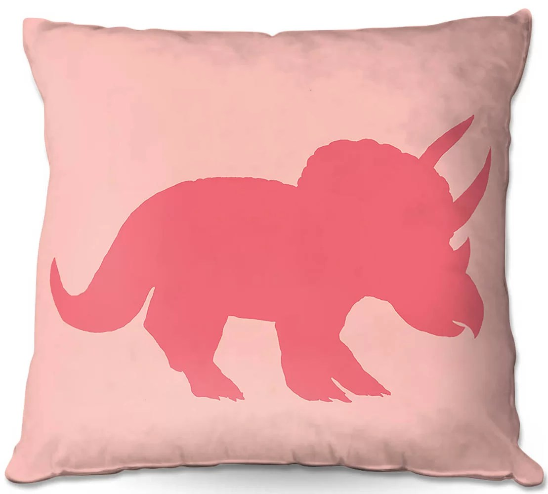 couch dinosaur i pink throw pillow