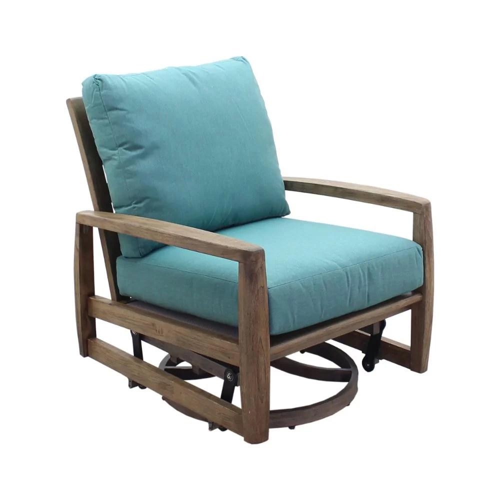 shivers courtyard swivel teak glider chair with cushions