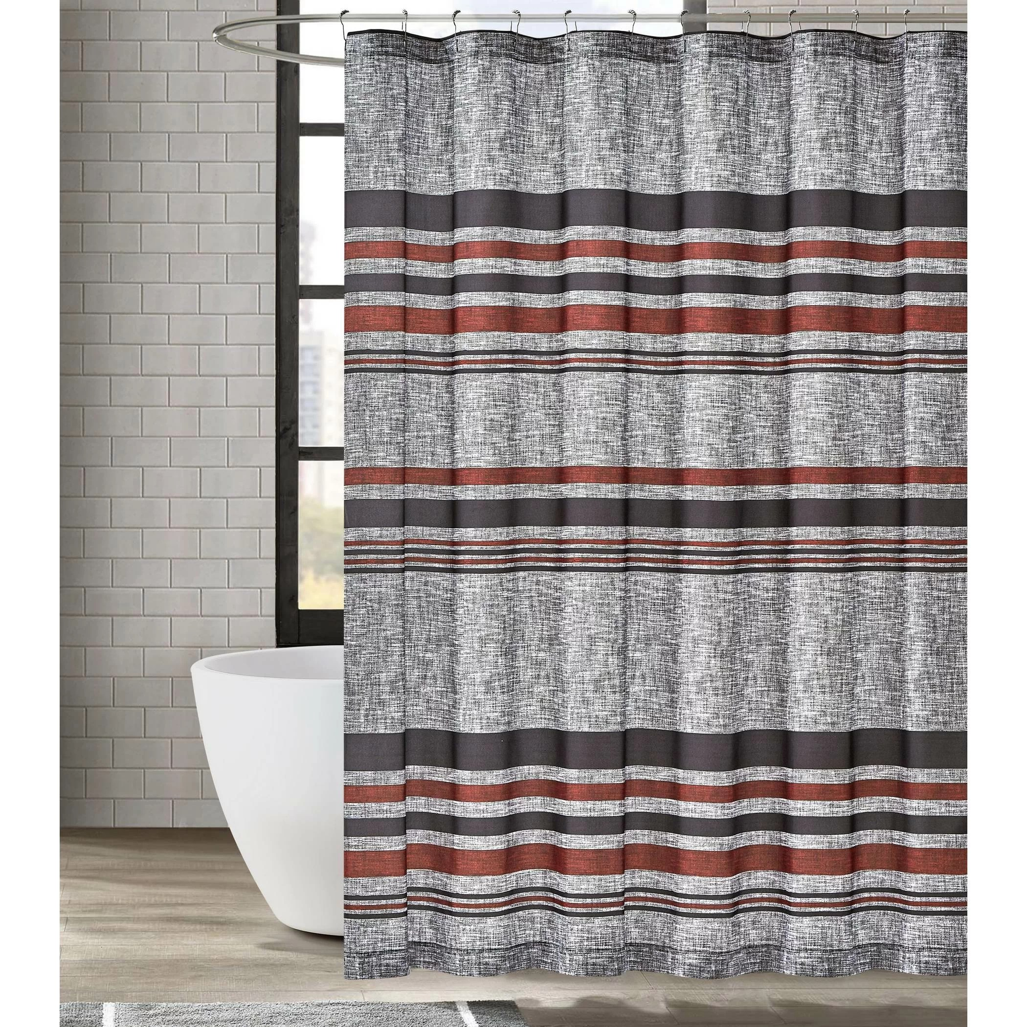 red grey shower curtain
