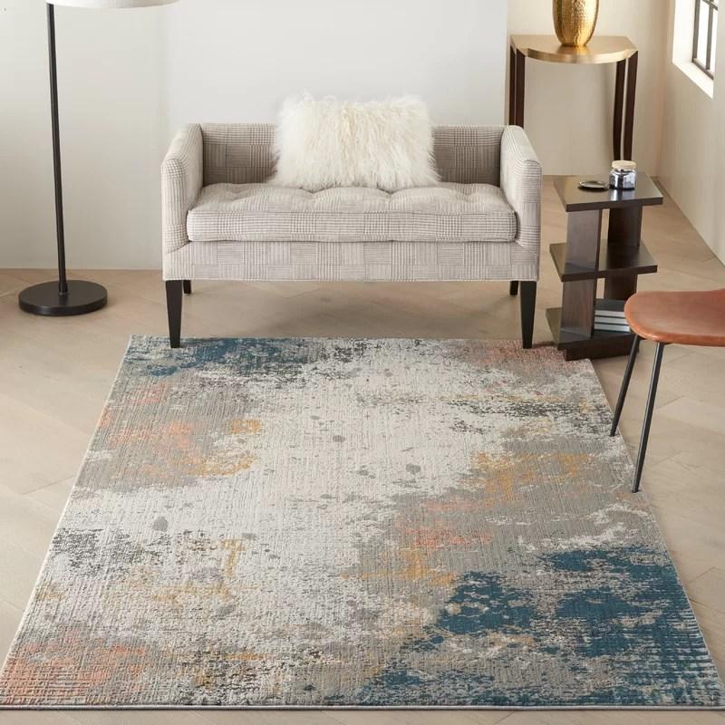 Phung Abstract Gray/Blue Area Rug