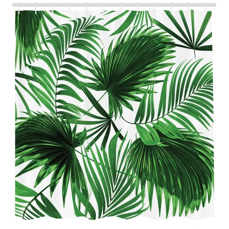 palm leaf shower curtain set hooks