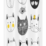 Ambesonne Cat Stall Shower Curtain Cats With Moustache Bow Tie Hat Crown Fluffy And Fish Humour Faces Graphic Fabric Bathroom Decor Set With Hooks