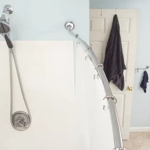 adjustable curved fixed shower curtain rod