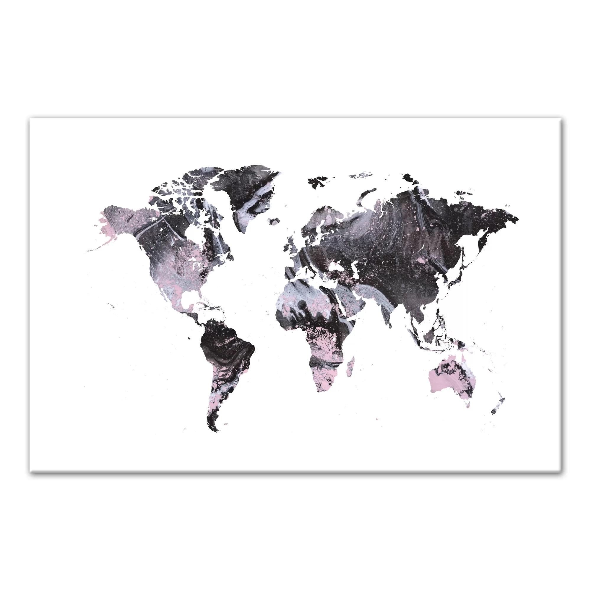 Bloomsbury Market Pink Amp Black Marble World Map Acrylic
