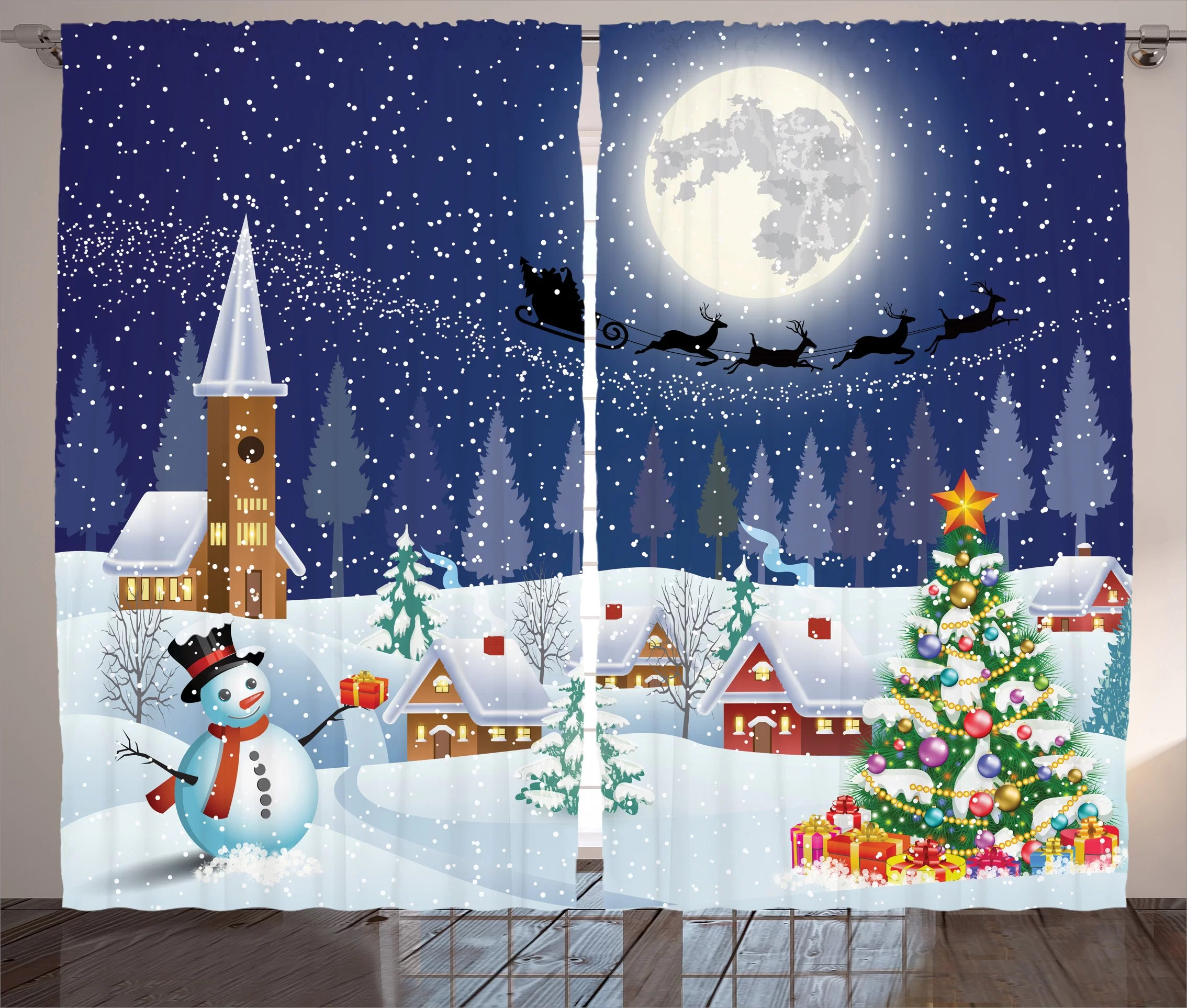 Christmas Decorations Winter Snowman Xmas Tree Santa Sleigh Church Moon Gifts Snow Stars Graphic Print Text Semi Sheer Rod Pocket Curtain Panels