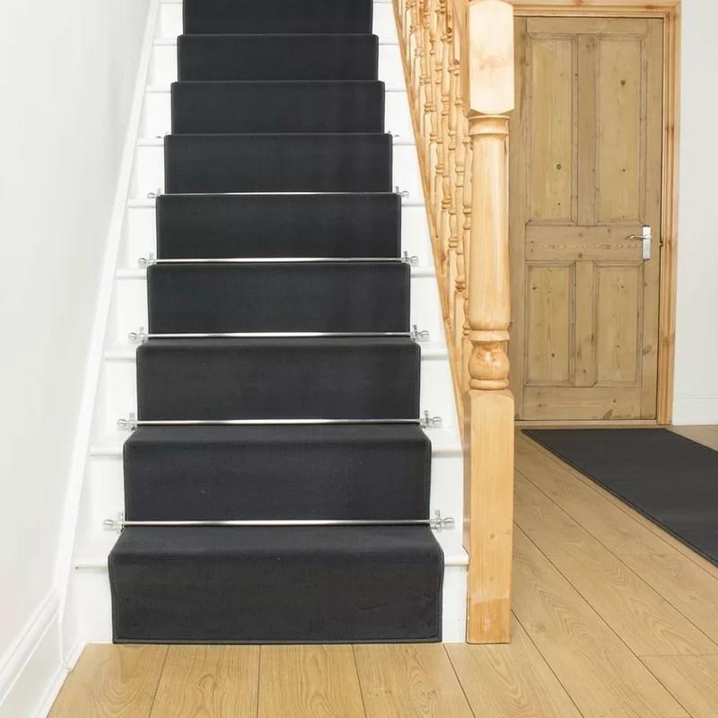 Rosalind Wheeler Alverton Tufted Dark Grey Stair Runner Reviews   Dark Grey Carpet Stairs   Fitted   Black   Grey Vinyl Flooring   Dark Brown   Floor