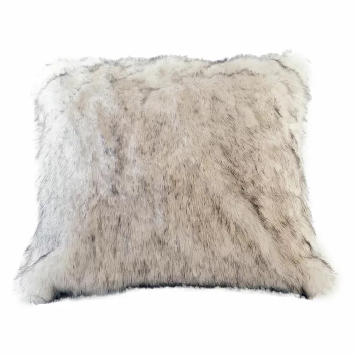 arctic fox faux fur pillow cover