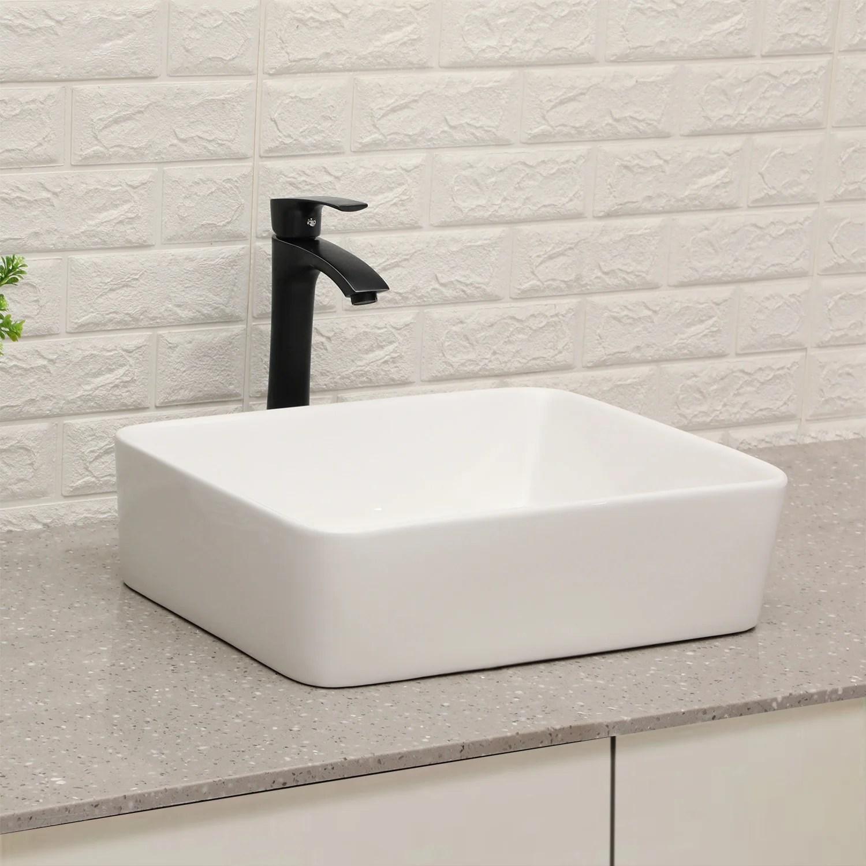 19 x15 bathroom vessel sink and faucet combo modern rectangle above counter white porcelain ceramic vessel vanity sink art basin matte black faucet