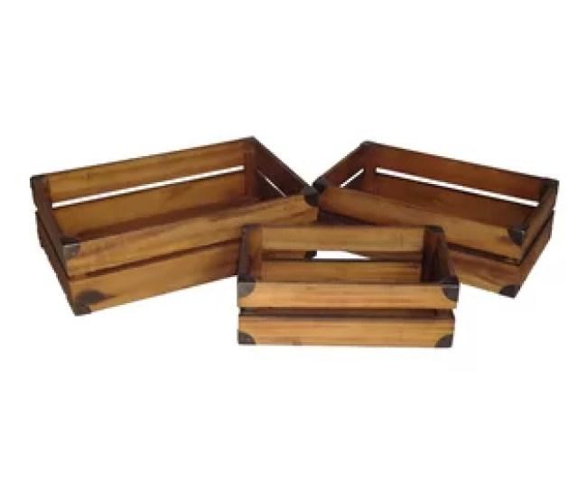 Piece Wood Crate Set