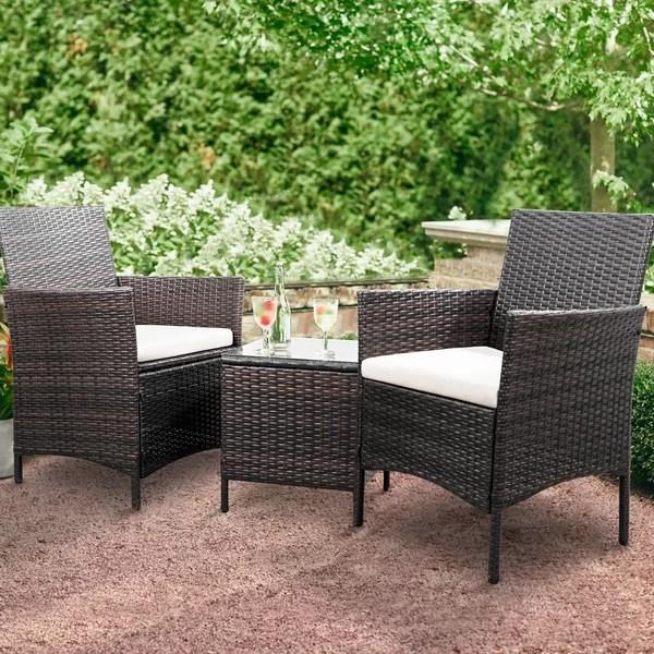 3 piece rattan patio set
