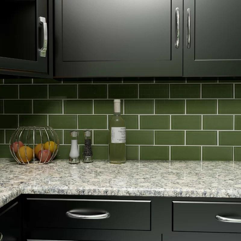 sage light green 3x6 glass subway tiles