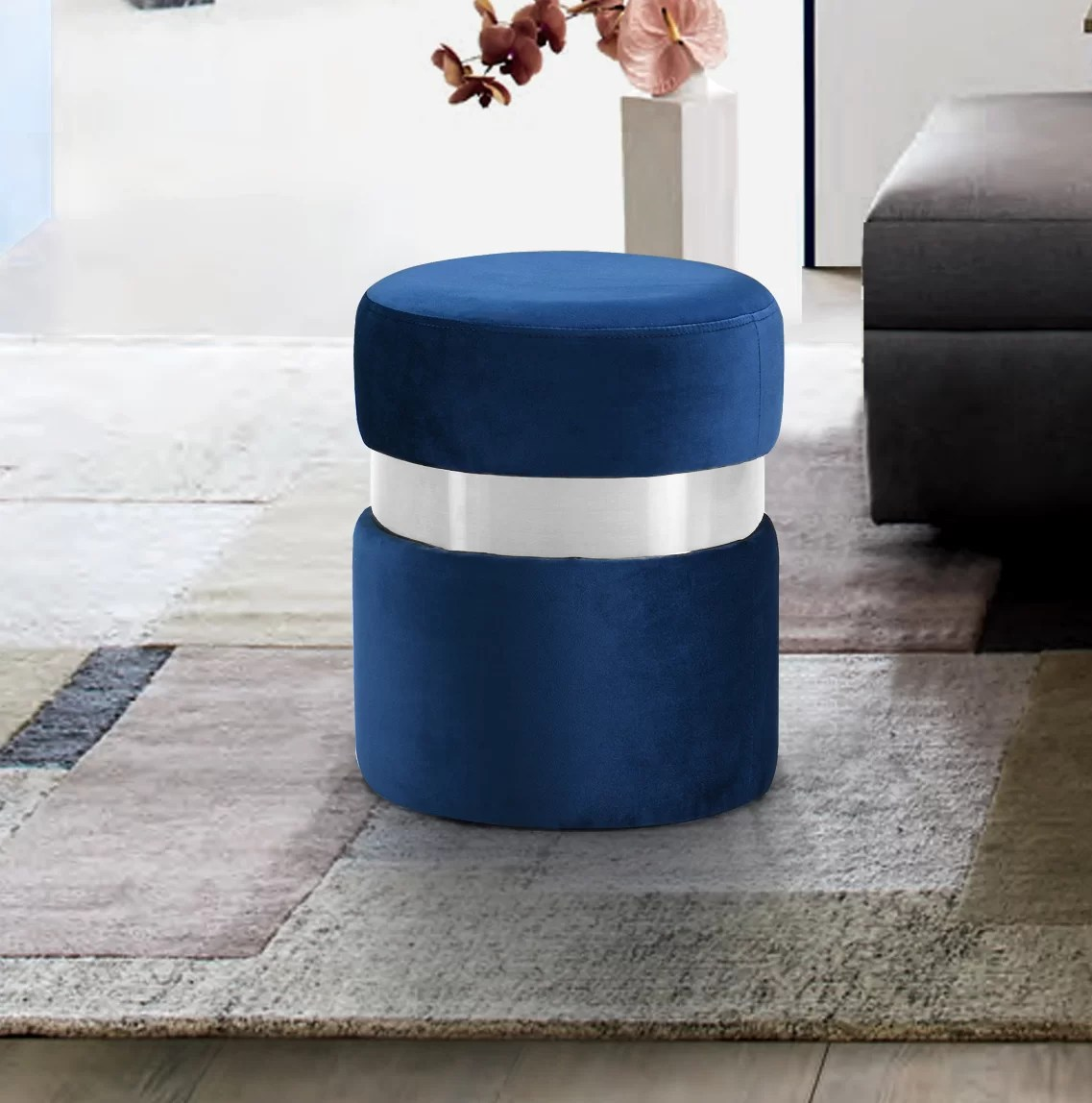 blue round ottomans poufs you ll love