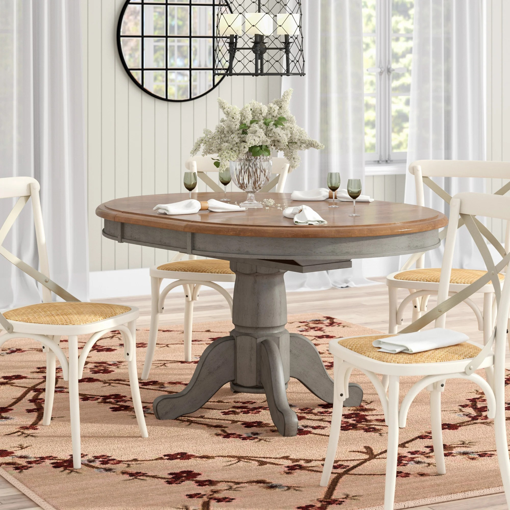 distressed finish oval kitchen dining