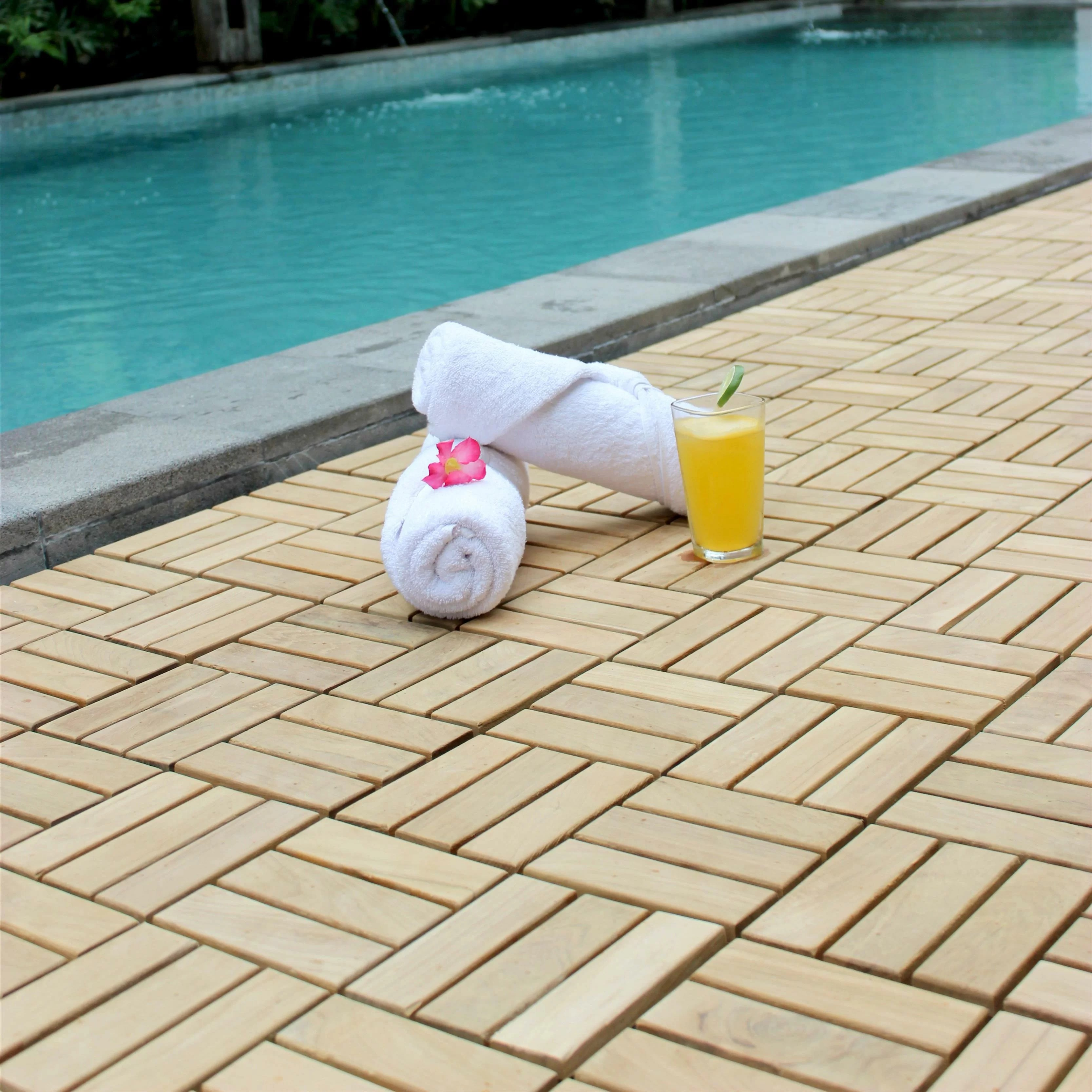 ez floor 12 x 12 wood interlocking deck tile in natural